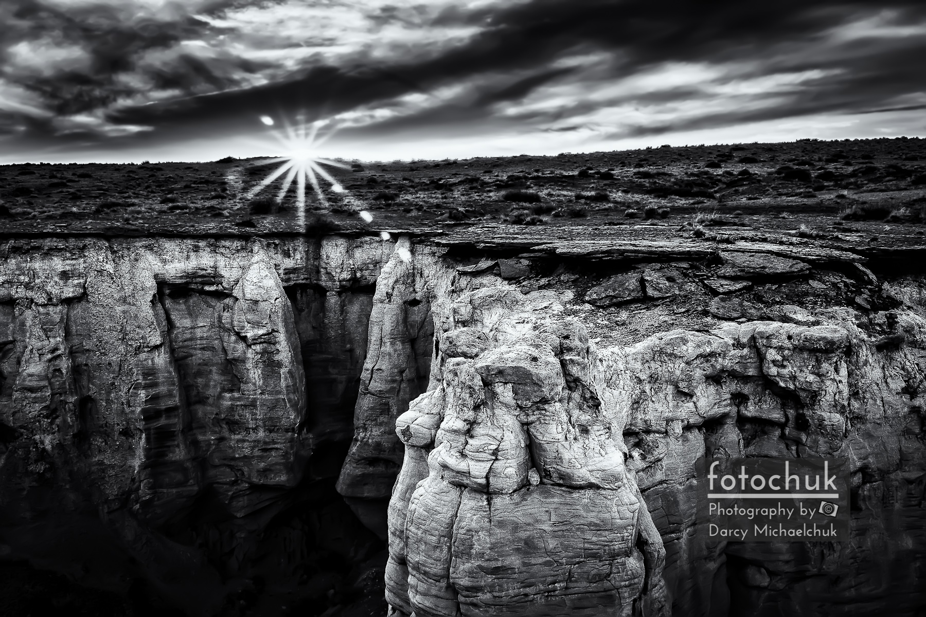 Bright Sun Setting at Coal Mine Canyon Bw