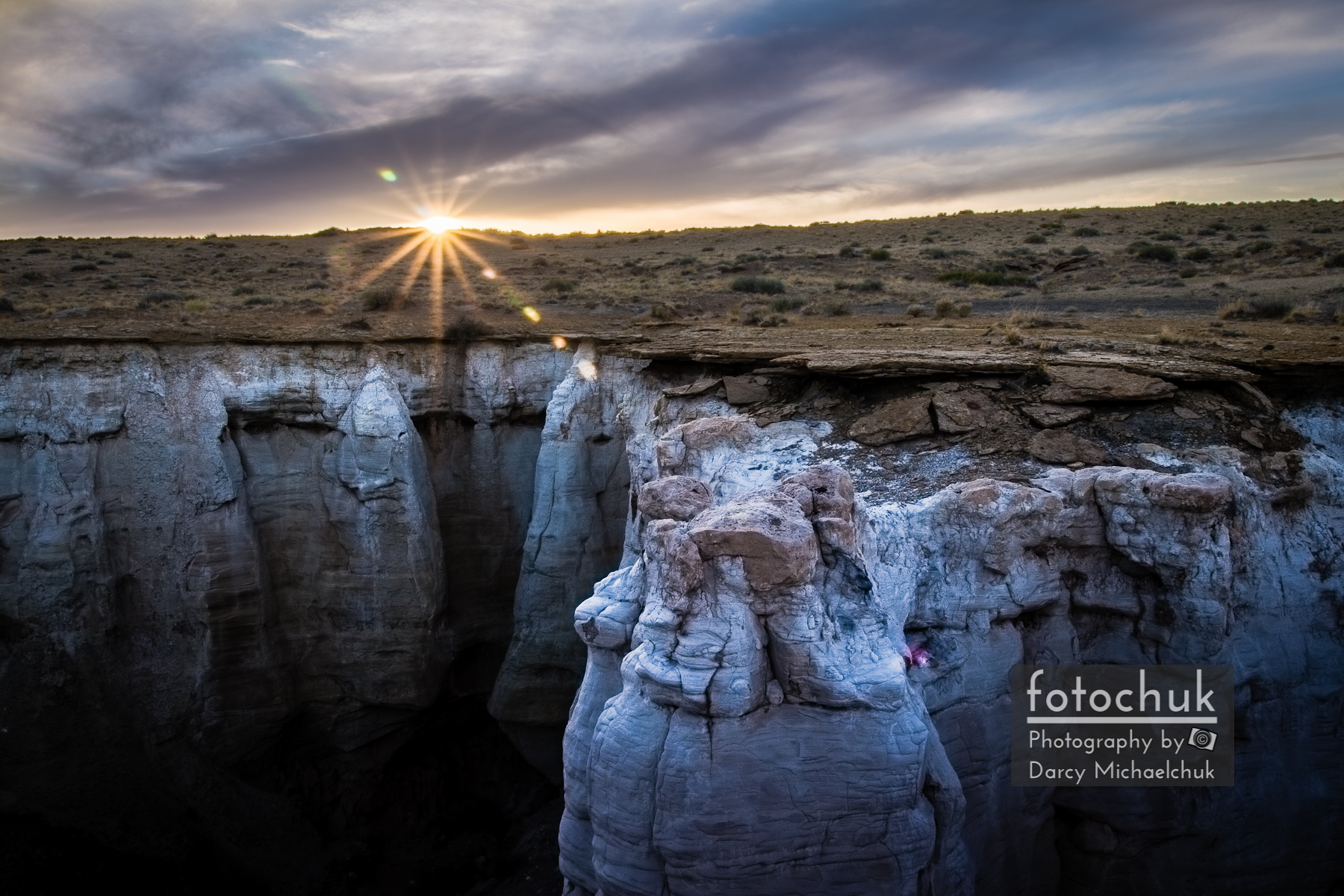 Bright Sun Setting at Coal Mine Canyon