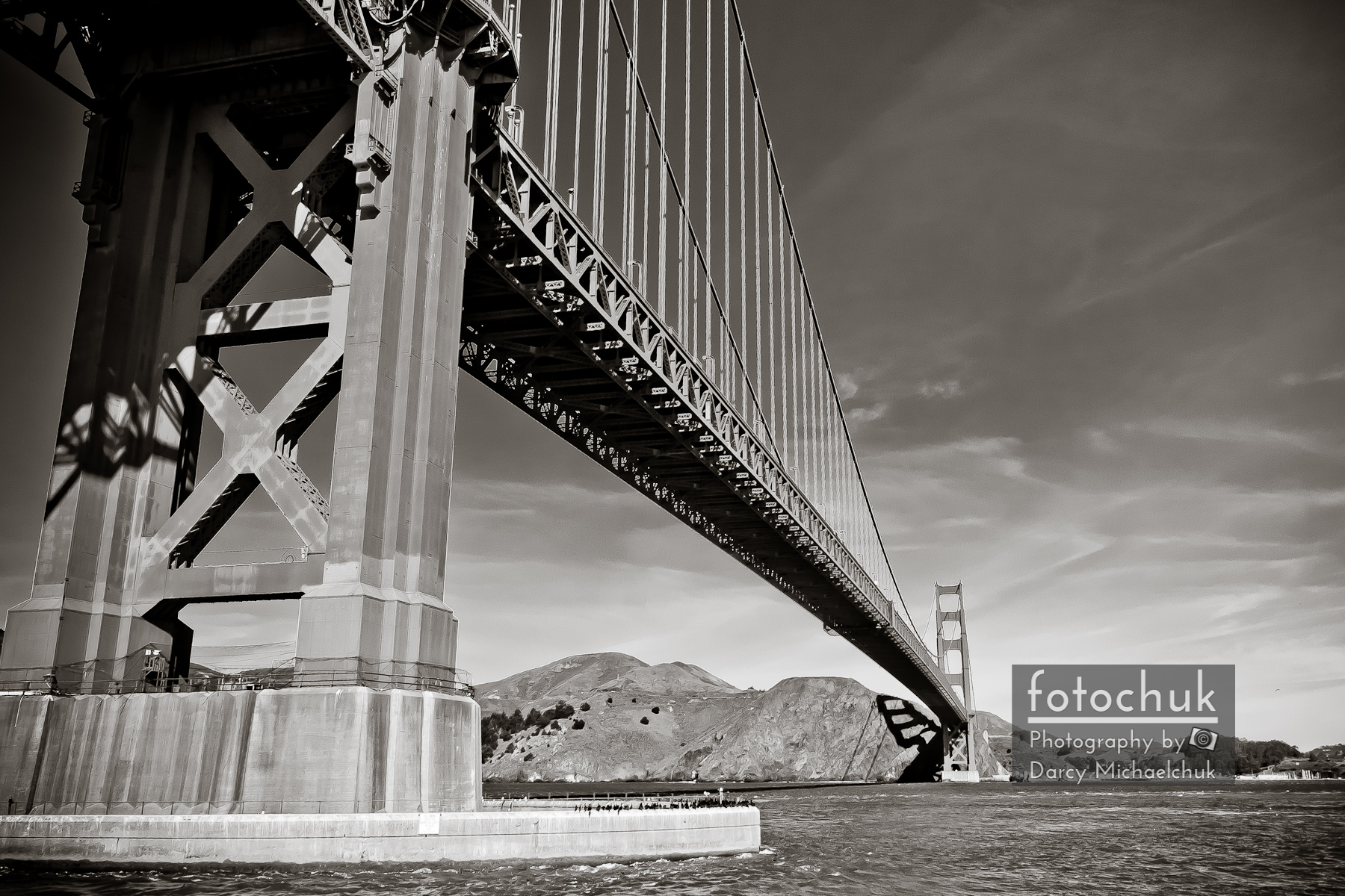 Golden Gate from the Water Bw