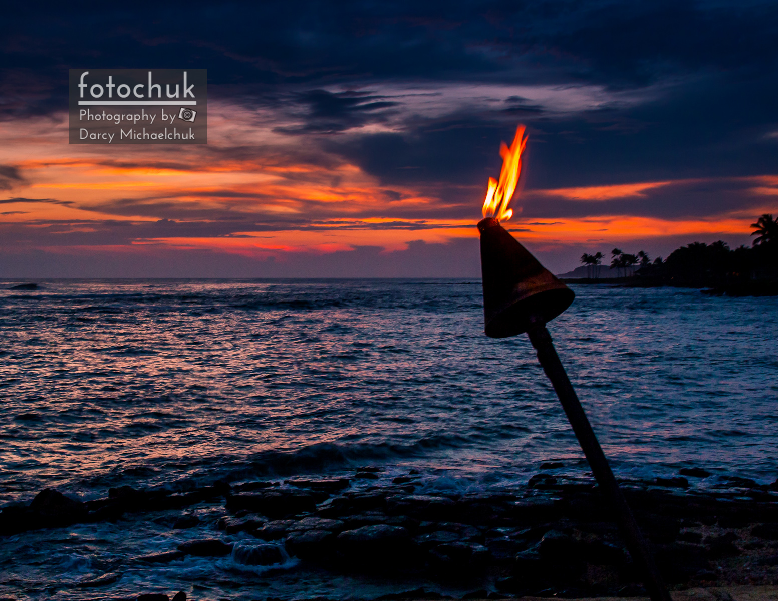 Hawaiian Torch Along Ocean Sunset