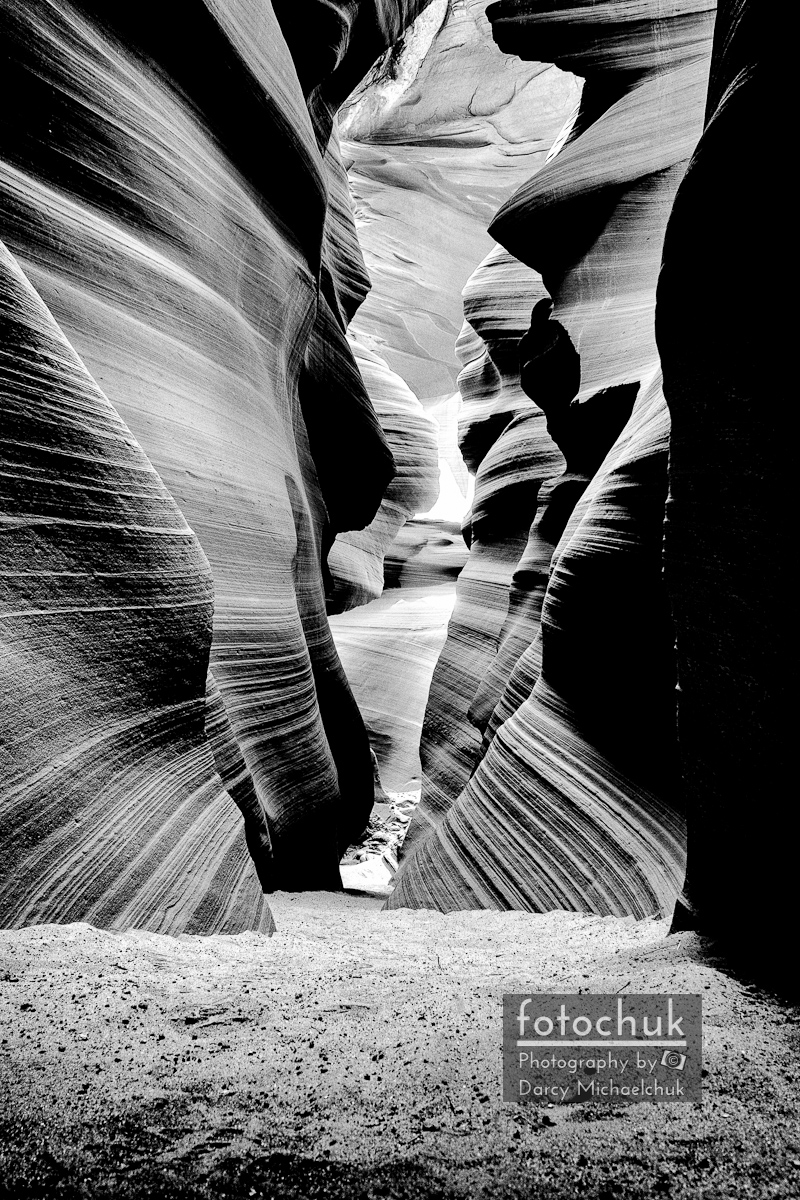Path in South Antelope Canyon Bw