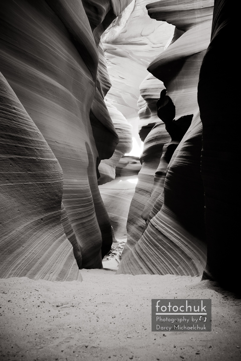 Path in South Antelope Canyon Soft Bw