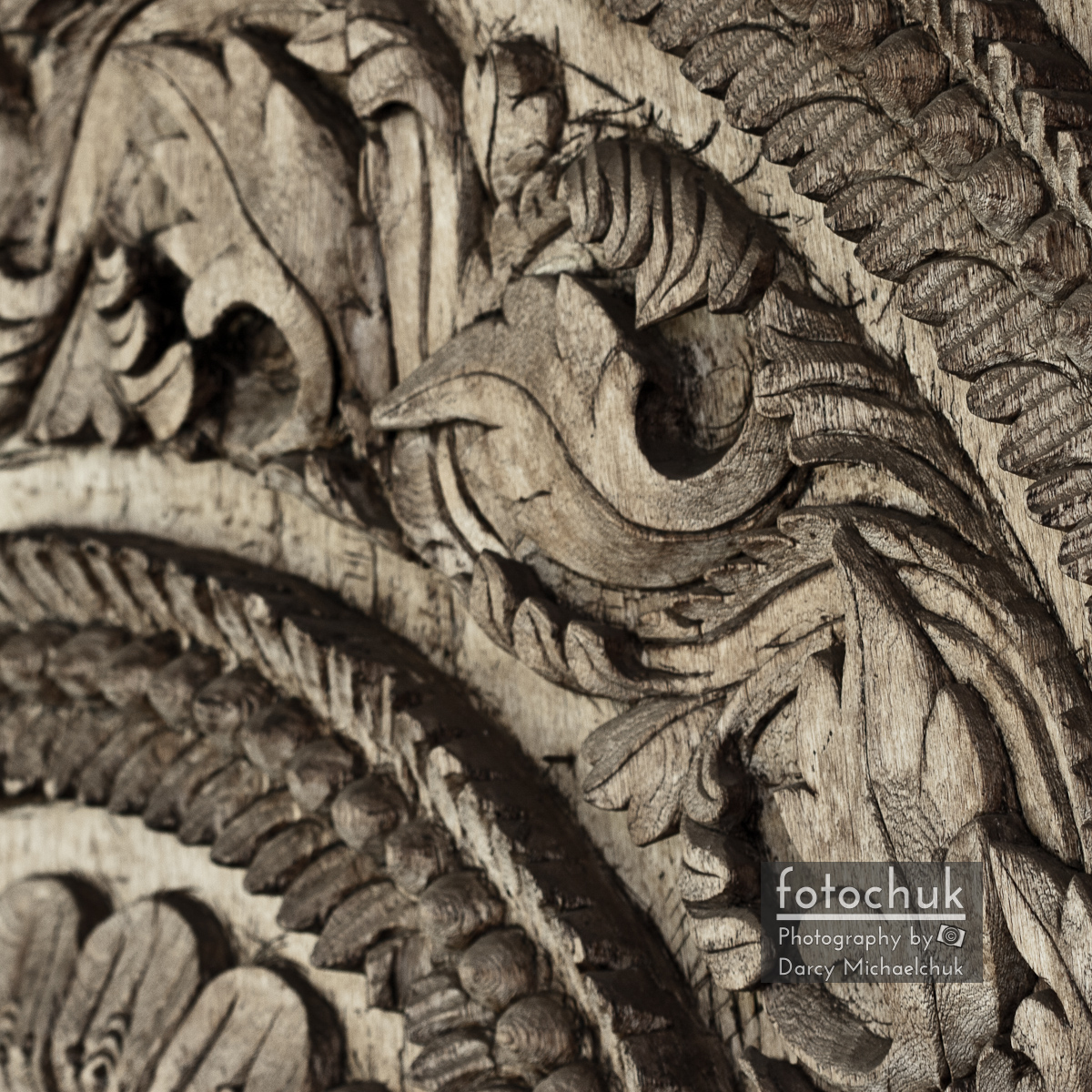 Patterns Carved in Wood up Close