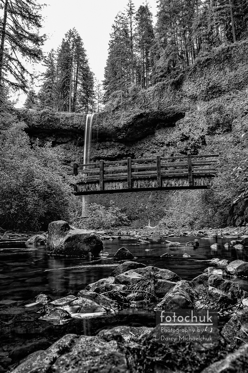 South Silver Falls with Bridge Bw