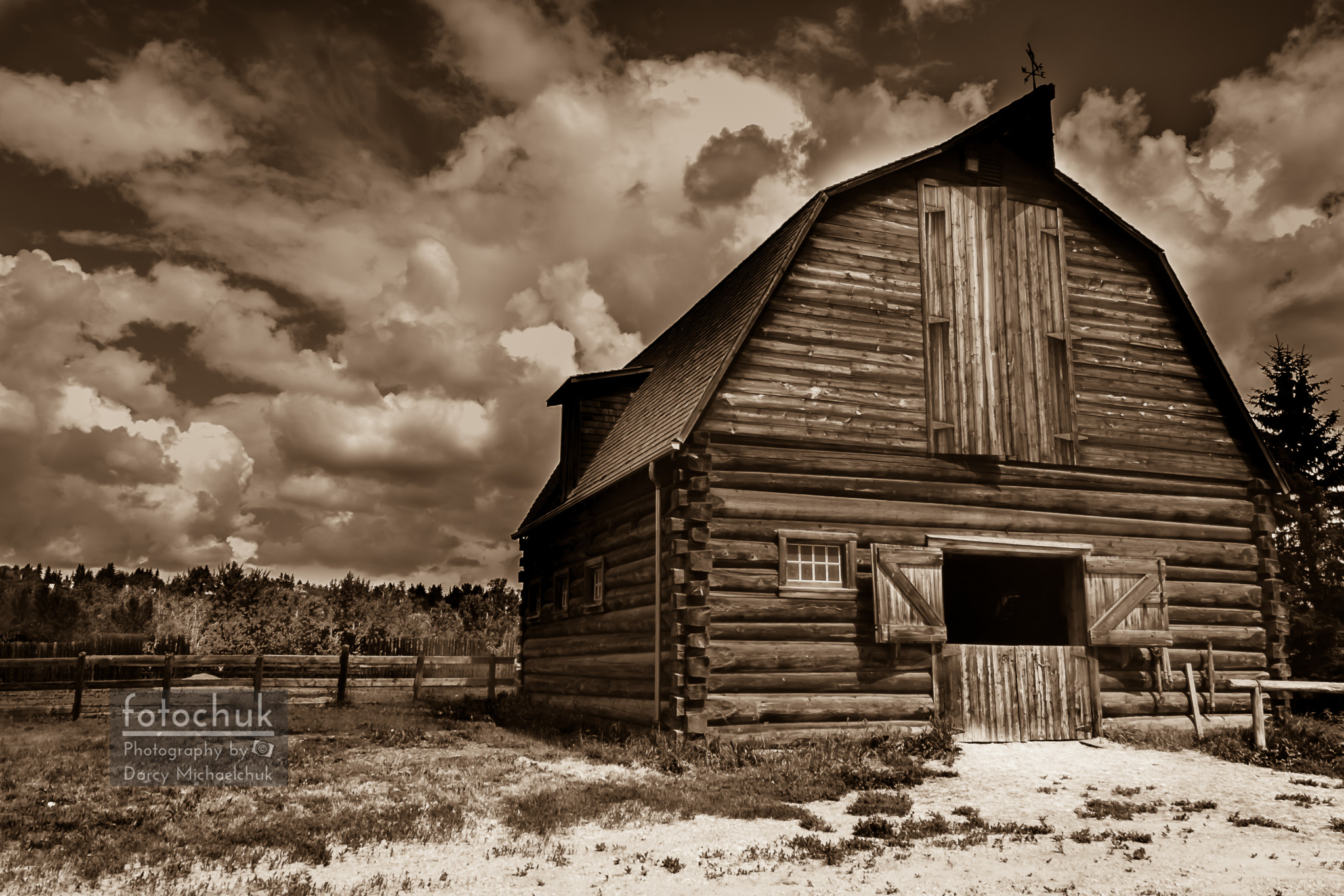 Turn of Century Barn Sepia