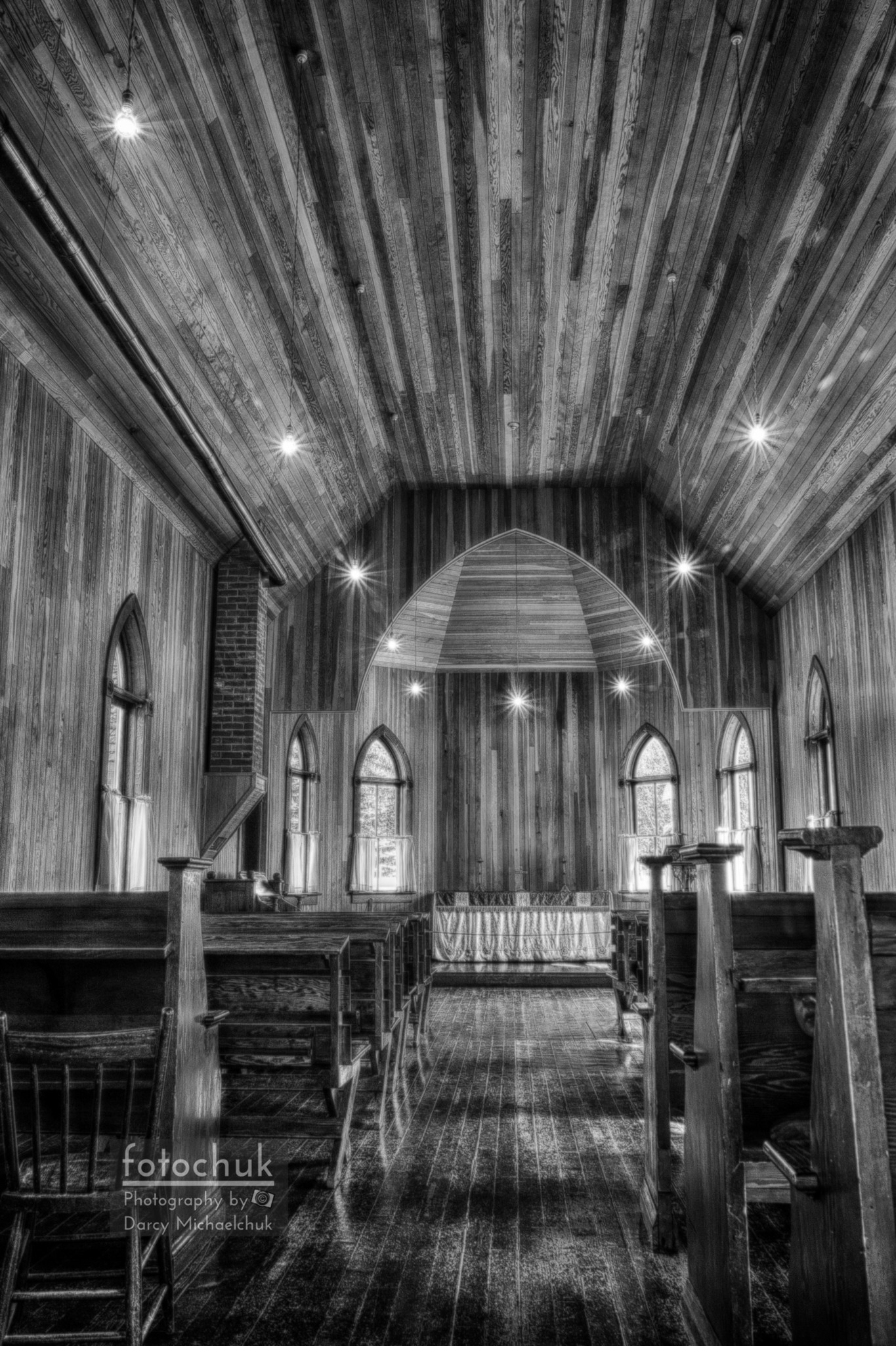 Prairie Ukrainian Church Aisle Black and White