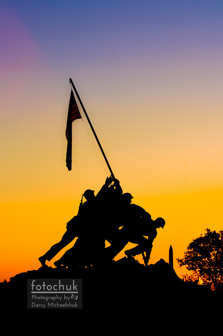 Us Marine Corps War Memorial at Sunrise