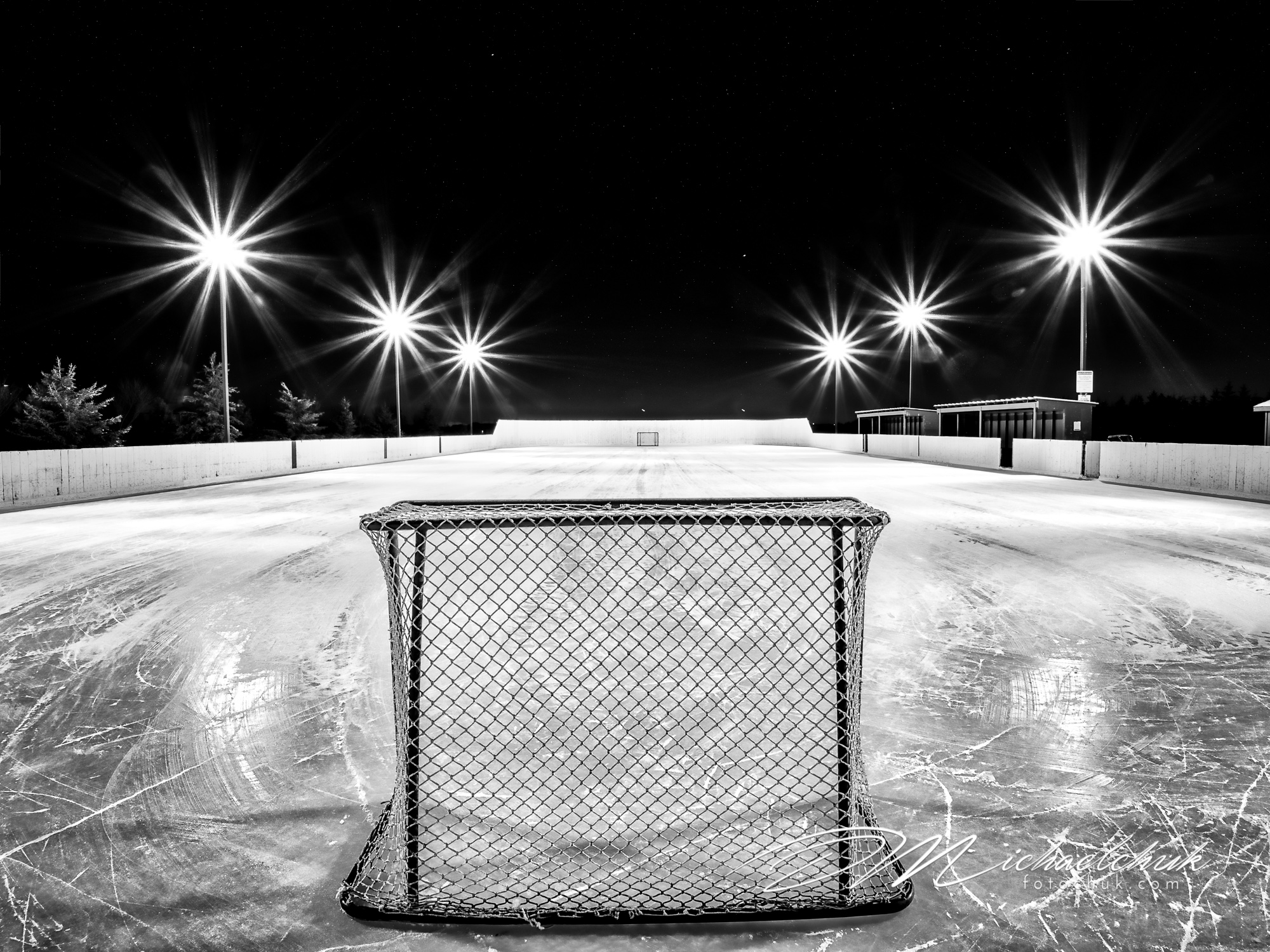 Empty outdoor rink at night W